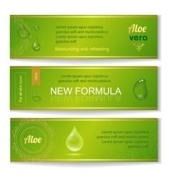 Aloe vera horizontal banners set with drops vector image