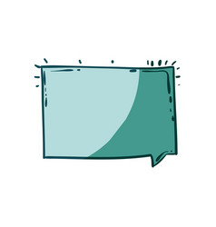 Aquamarine hand drawn rectangular speech vector