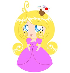 Blond Cupcake Princess In Pink Dress vector image