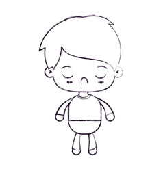 Blurred thin silhouette of kawaii little boy with vector