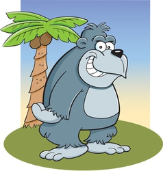 Cartoon gorilla with palm tree vector
