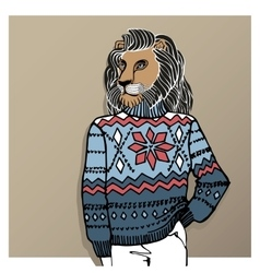 Cartoon lion in Jacquard hat sweaterWinter vector image