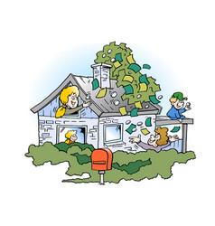 Cartoon of a happy family threre has borrowed vector