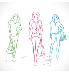 fashion girl in style stock vector image