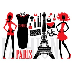 Fashionable set with silhouettes of women vector image vector image