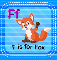 Flashcard letter f is for fox vector