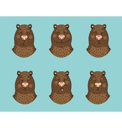 Funny bear emotion icon set vector