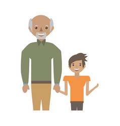 Grandpa with grandson smiling vector