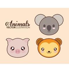 Kawaii pig koala and monkey icon graphic vector image