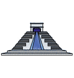 mayan pyramid monument vector image vector image