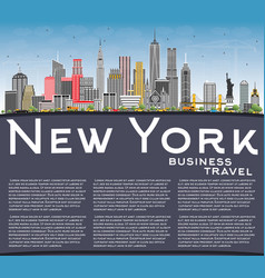 new york usa city skyline with gray skyscrapers vector image vector image