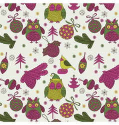 owl xmas decoration vector image vector image