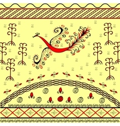 Red fire bird ethnic ornamental background vector