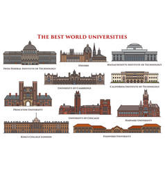 Set of isolated education buildings university vector