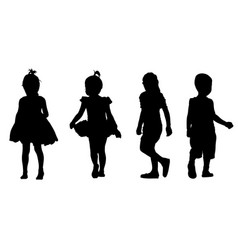 set of kids silhouettes vector image