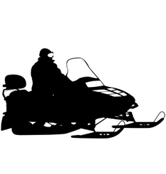 Silhouette snowmobile on white background vector image