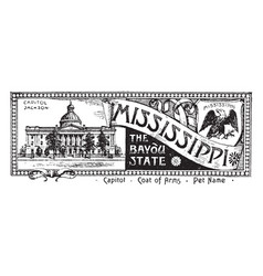 The state banner of mississippi the bayou state vector