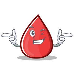 Wink blood drop cartoon mascot character vector