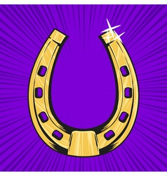 Pop art of golden horseshoe symbol of luck vector