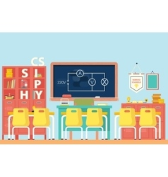 Physics classroom with electrical circuit vector