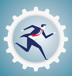 Businessman run in the gear vector