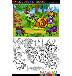 cartoon insects or bugs for coloring book vector image