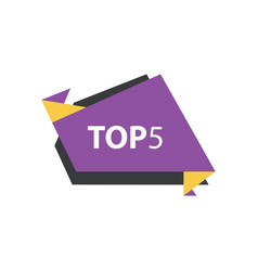 Top5 text in label purple yellow black vector