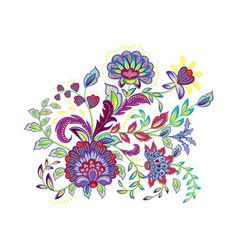 Vintage flowers embroidery patch vector