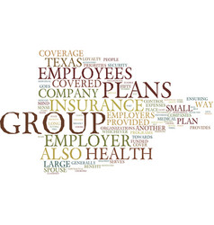 Texas group health insurance text background word vector