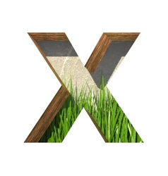 Grass cutted figure x paste to any background vector