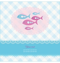 Greeting card with copy space and fish vector