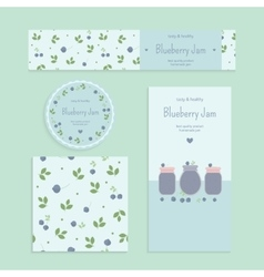 Homemade blueberry jam set vector
