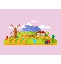 House in village farm vector image