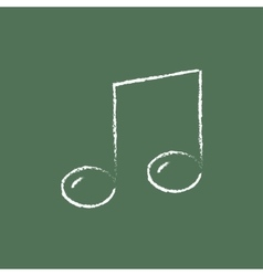 Music note icon drawn in chalk vector