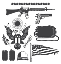 American patriotic elements set weapons armor vector