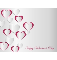 Valentine card template with cut paper hearts vector