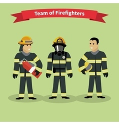 Firefighters team people group flat style vector
