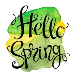 Hand drawn lettering hello spring vector