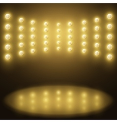 Stage yellow lights abstract sparkling background vector