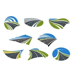 Roads and speed highways icons vector