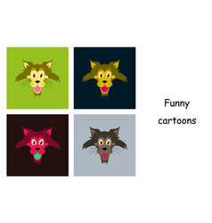 Assembly of flat icons on theme funny animals cat vector
