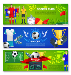 Banners for football or soccer sport club vector