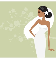 Beautiful bride in a white dress vector image