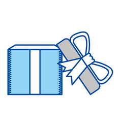 Blue contour of opened gift box with decorative vector