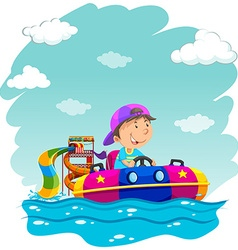 Boy riding on rubber boat at park vector