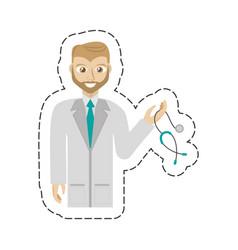 cartoon beard doctor holding stethoscope vector image