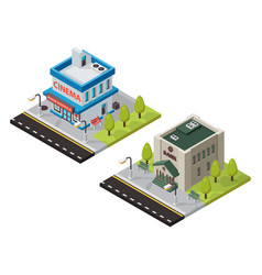 cinema and bank isometric buildings vector image vector image