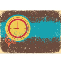 Clock on grunge background for text vector