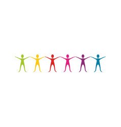 Color people with hands up icon vector