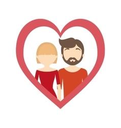 Couple love frame heart romantic cheerful vector
